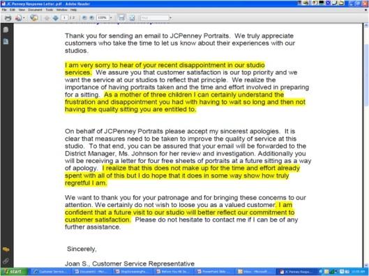 Myra Golden Complaint Response Email