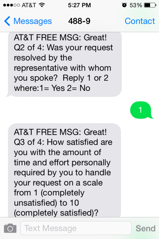 ATT Customer Satisfaction Survey Sample 2