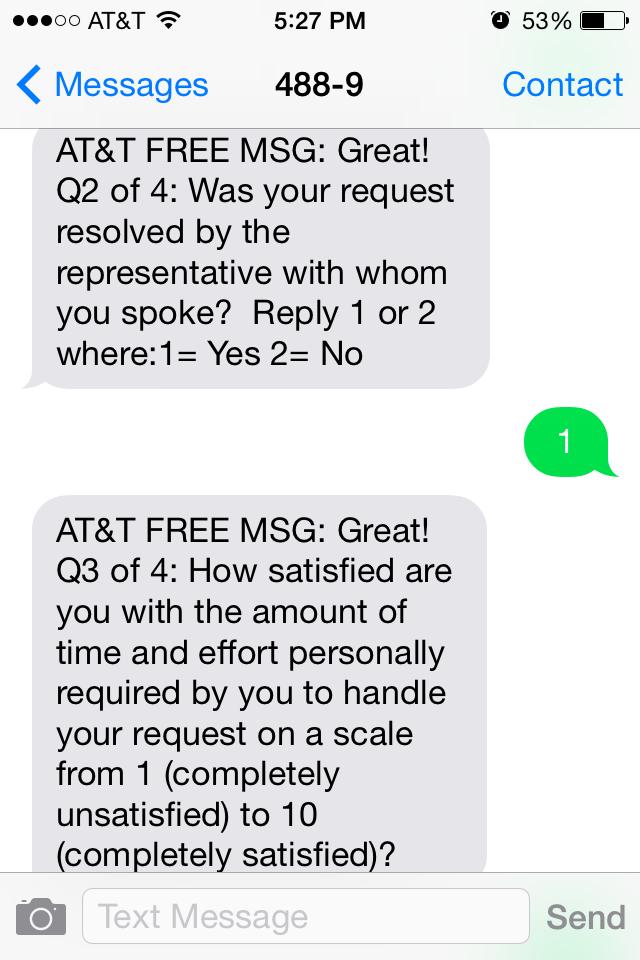 ATT Customer Satisfaction Survey Sample 2