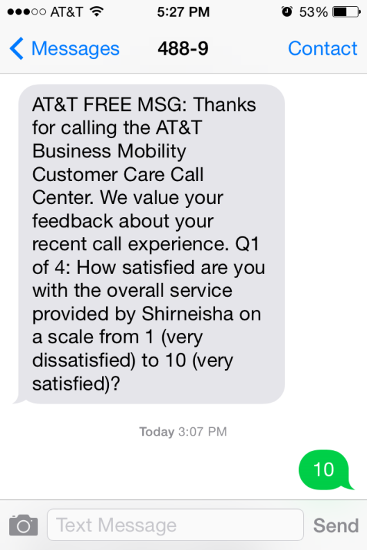 ATT Customer Satisfaction Survey Sample 3