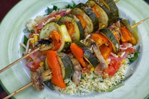 Caramelized Veggie Skewers-with Summer Corn Relish and Herby Couscous